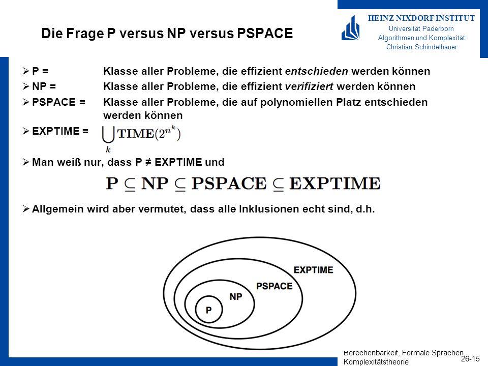 Die Frage P versus NP versus PSPACE