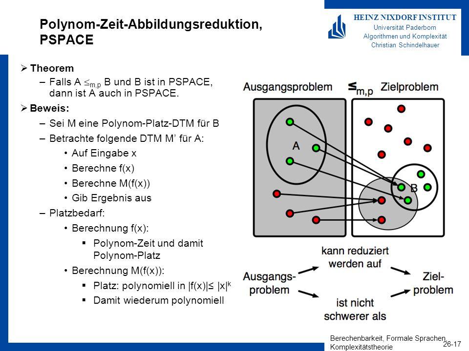 Polynom-Zeit-Abbildungsreduktion, PSPACE