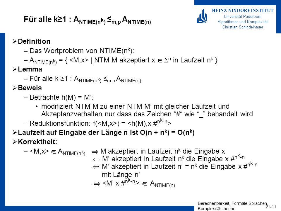 Für alle k≥1 : ANTIME(nk) ≤m,p ANTIME(n)