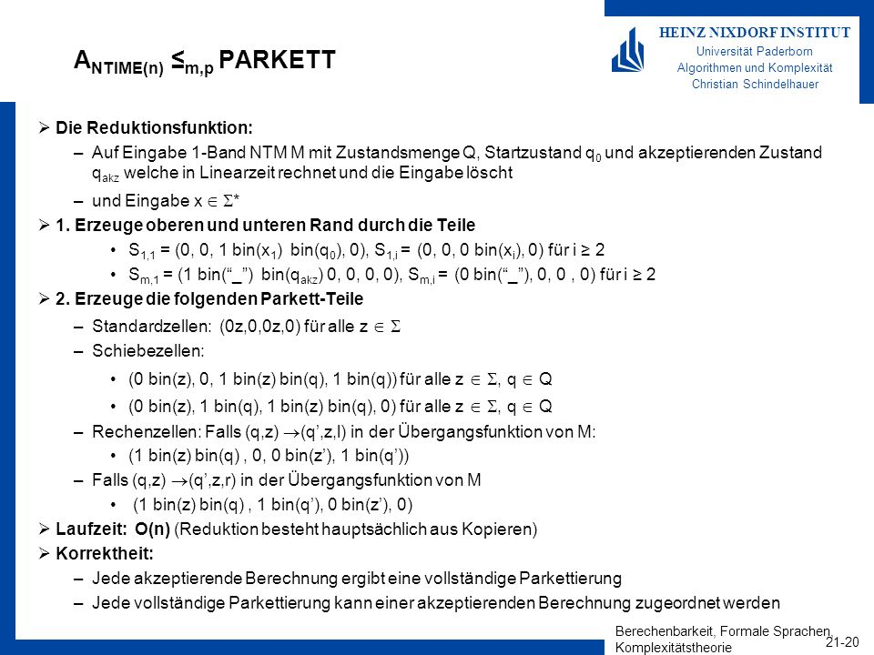 ANTIME(n) ≤m,p PARKETT Die Reduktionsfunktion: