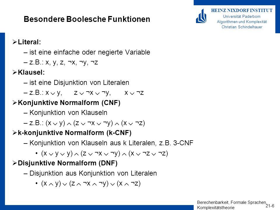 Besondere Boolesche Funktionen