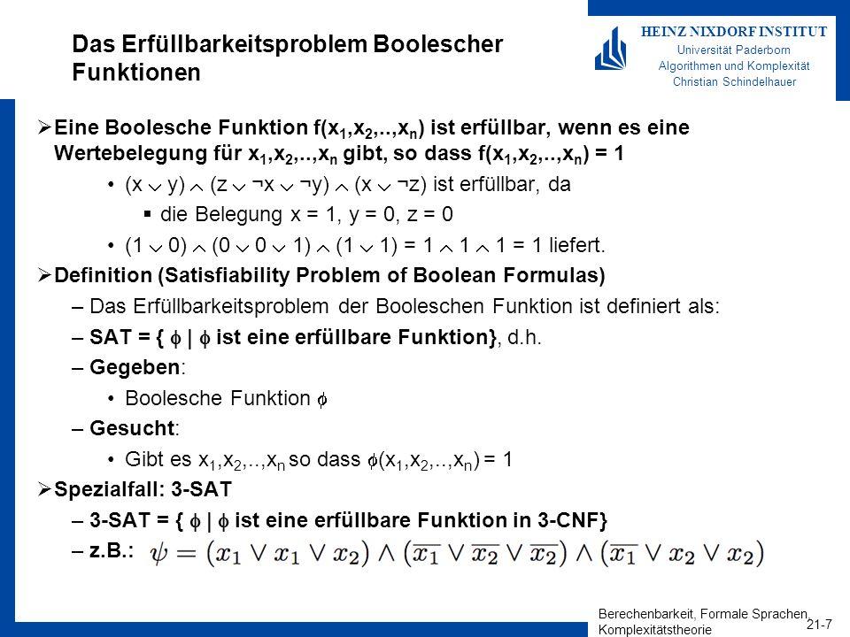 Das Erfüllbarkeitsproblem Boolescher Funktionen