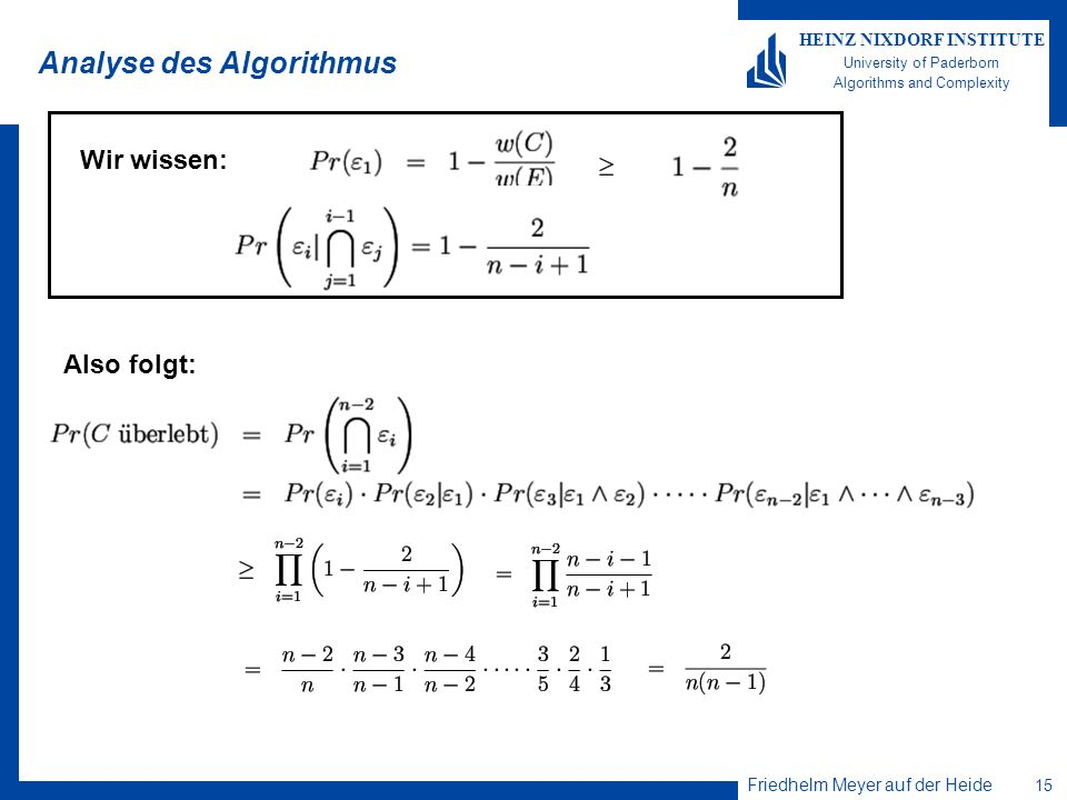 Analyse des Algorithmus