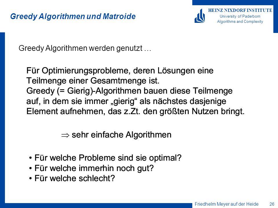 Greedy Algorithmen und Matroide