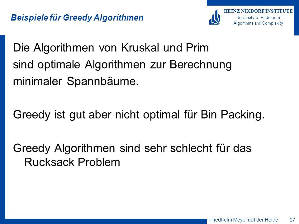 Beispiele für Greedy Algorithmen