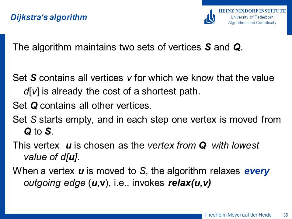 The algorithm maintains two sets of vertices S and Q.