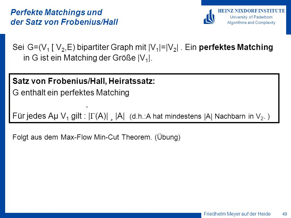 Perfekte Matchings und der Satz von Frobenius/Hall