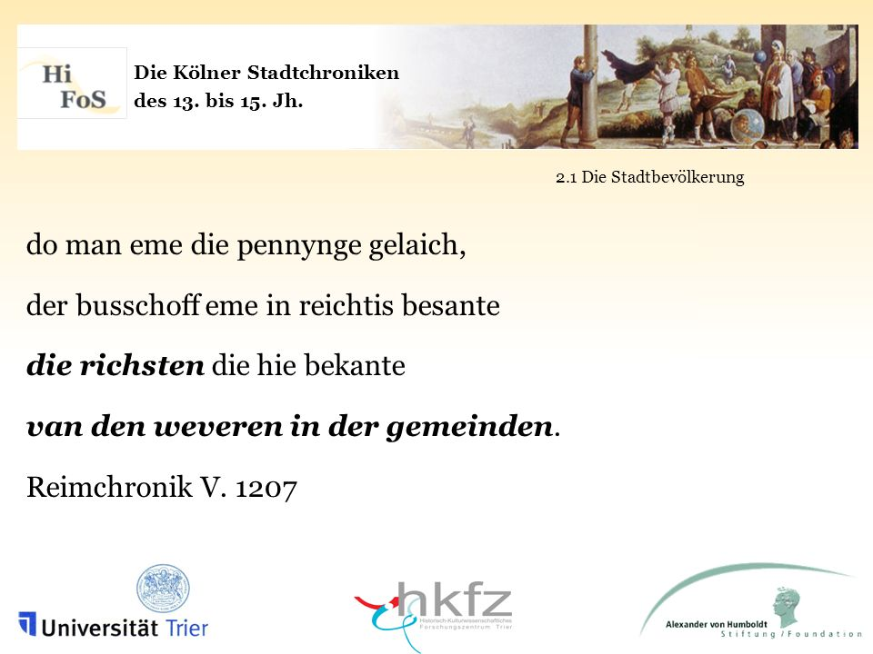 Die Kölner Stadtchroniken des 13. bis 15. Jh.