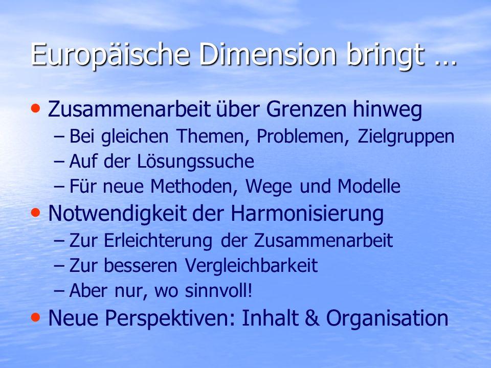 Europäische Dimension bringt …
