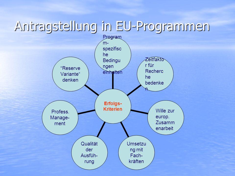 Antragstellung in EU-Programmen