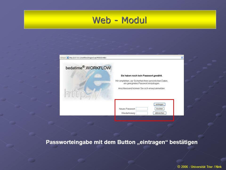 """Web - Modul Passworteingabe mit dem Button """"eintragen bestätigen"""