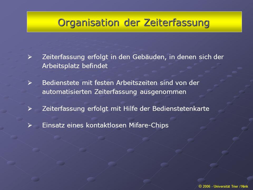 Organisation der Zeiterfassung