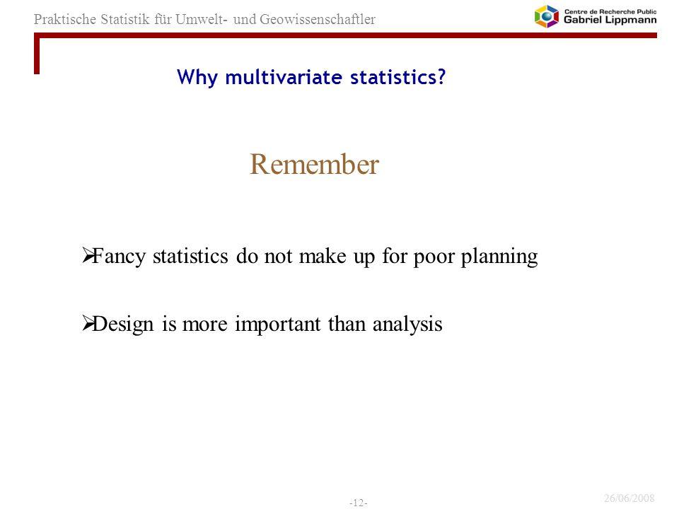 Why multivariate statistics