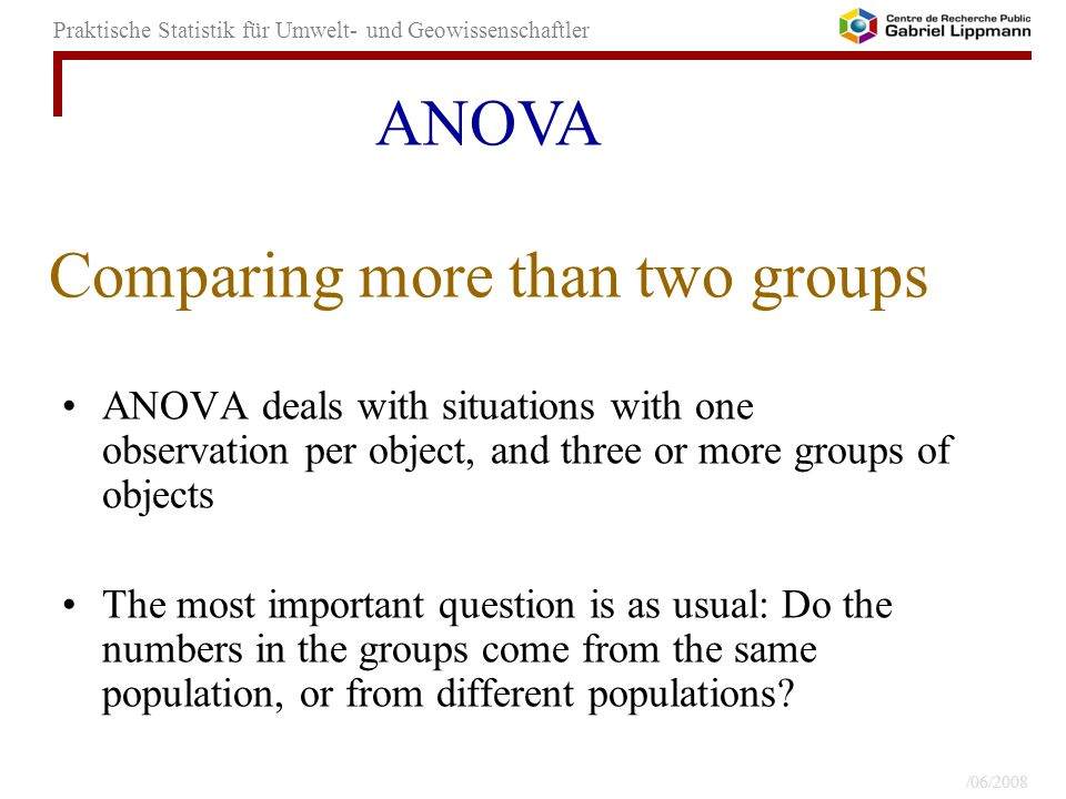 Comparing more than two groups