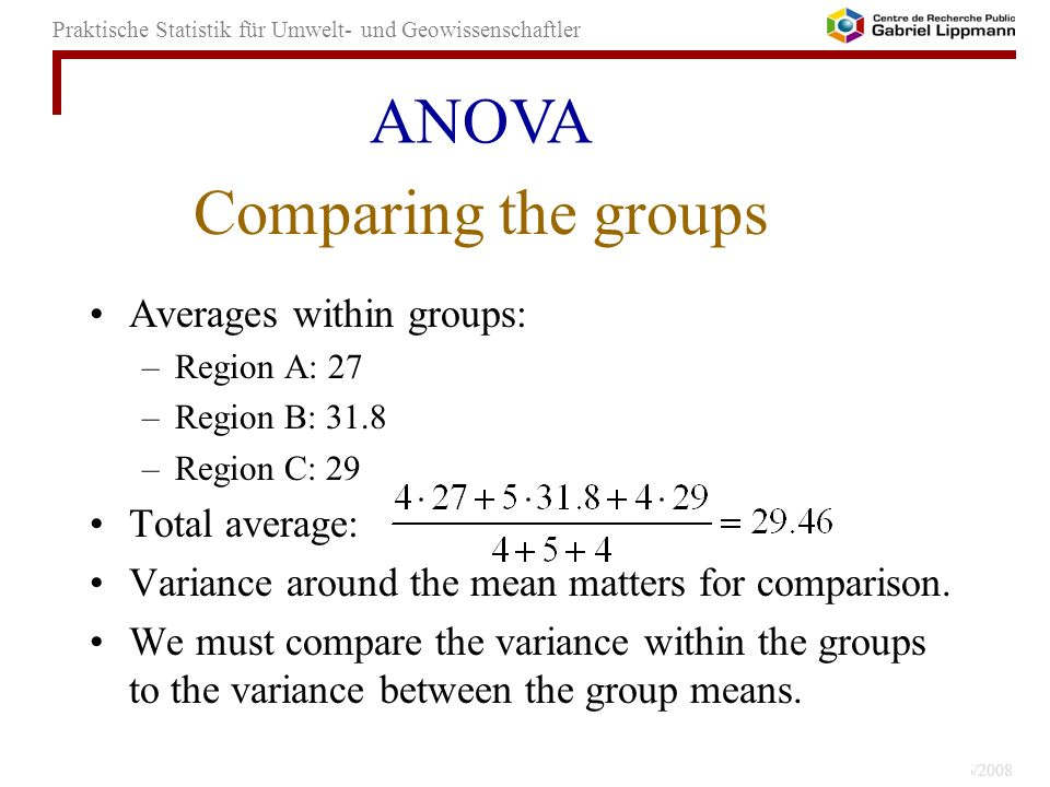 ANOVA Comparing the groups Averages within groups: Total average:
