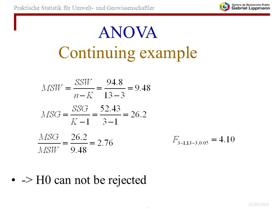 ANOVA Continuing example -> H0 can not be rejected 44