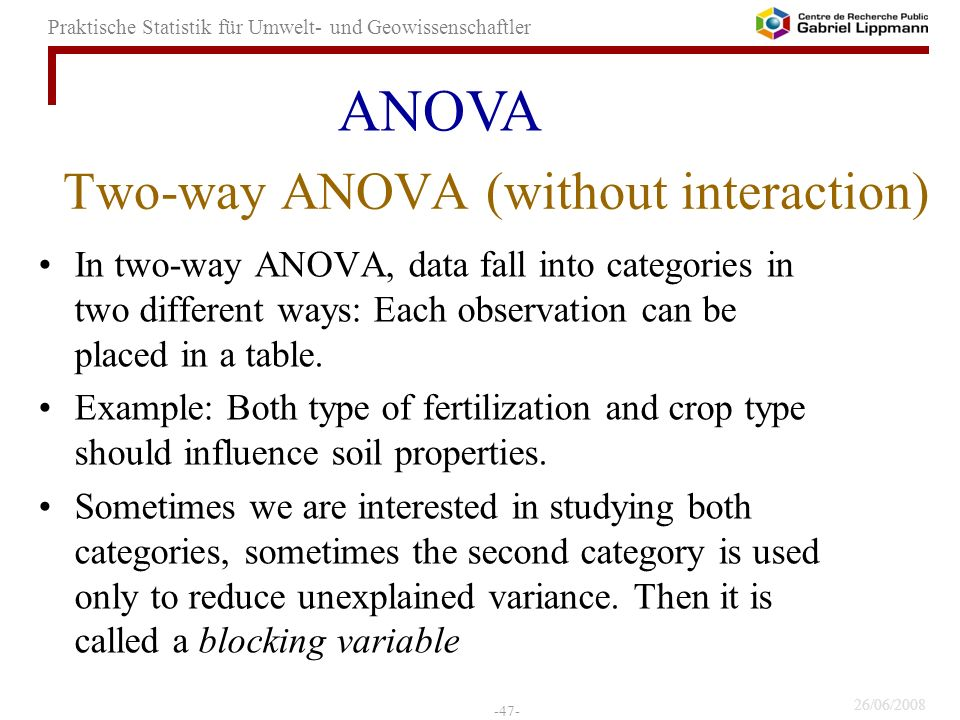 Two-way ANOVA (without interaction)