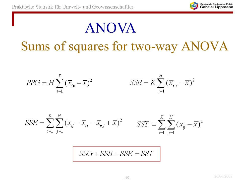 Sums of squares for two-way ANOVA