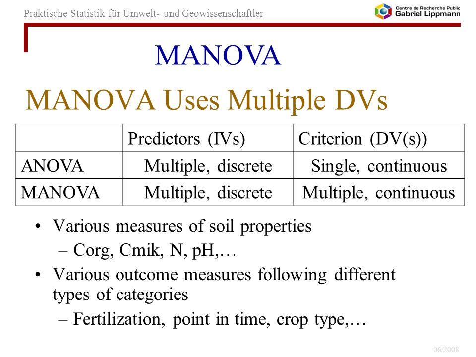 MANOVA Uses Multiple DVs
