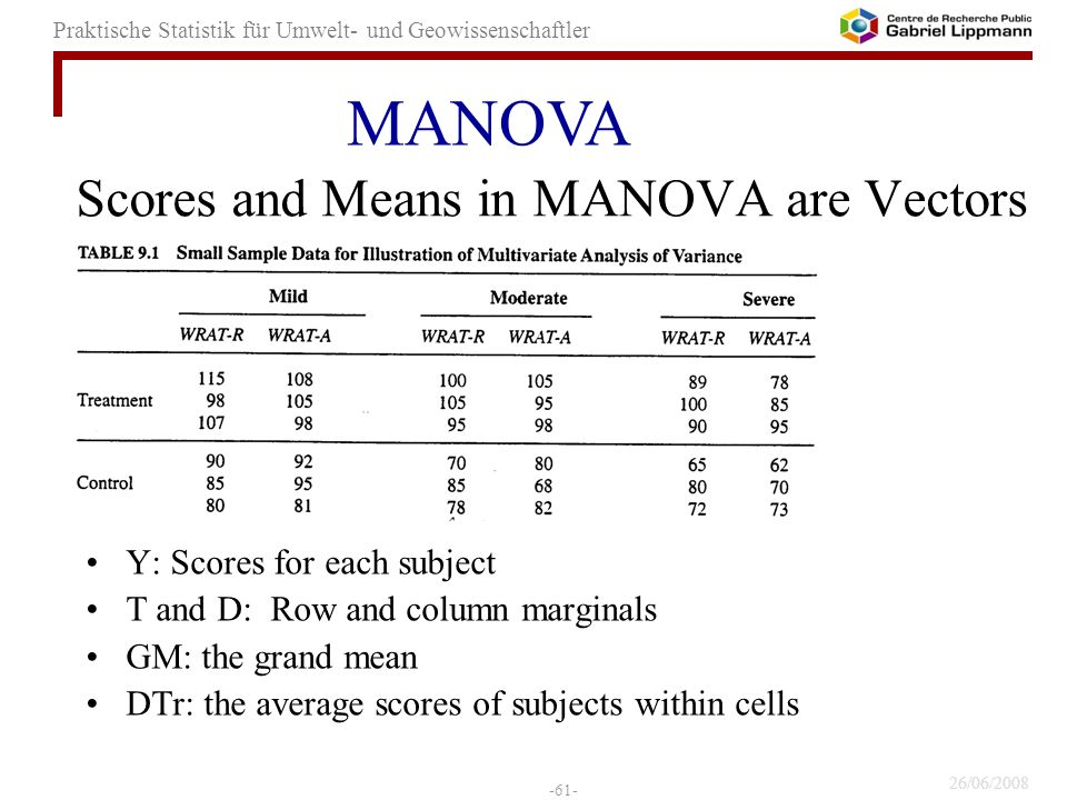 Scores and Means in MANOVA are Vectors