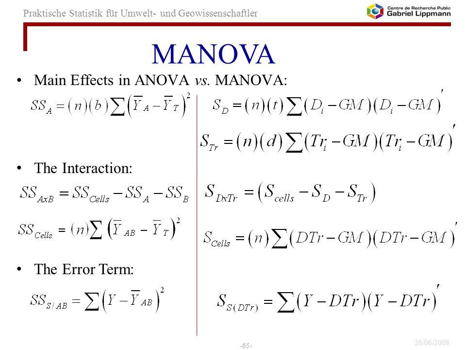 MANOVA Main Effects in ANOVA vs. MANOVA: The Interaction: