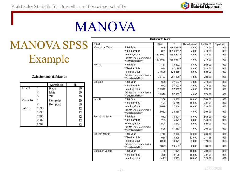 MANOVA MANOVA SPSS Example 71