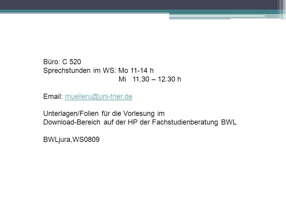 Büro: C 520 Sprechstunden im WS: Mo 11-14 h. Mi 11.30 – 12.30 h. Email: muelleru@uni-trier.de. Unterlagen/Folien für die Vorlesung im.