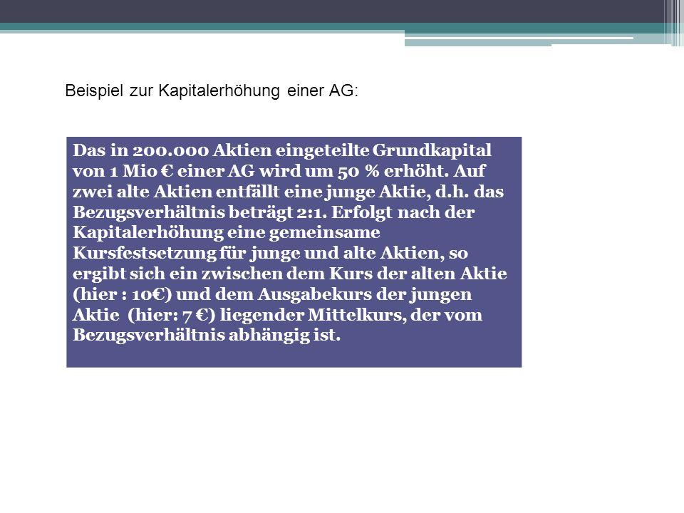 Beispiel zur Kapitalerhöhung einer AG: