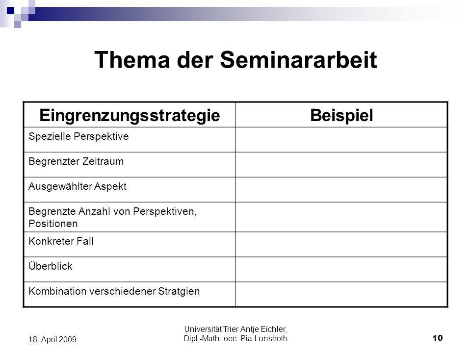Thema der Seminararbeit