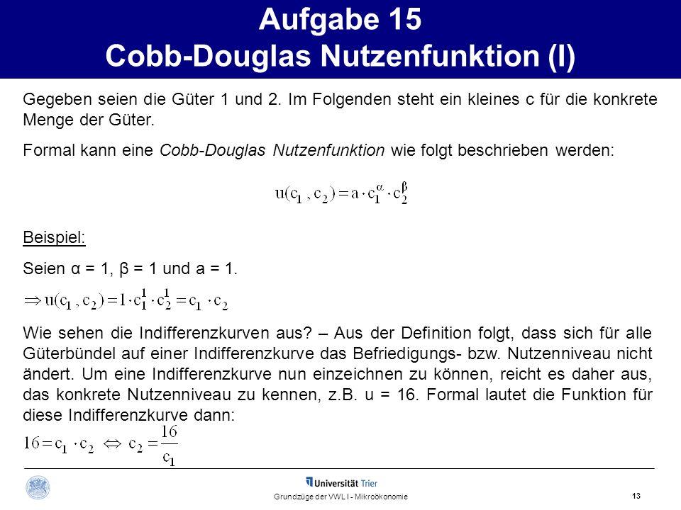 Aufgabe 15 Cobb-Douglas Nutzenfunktion (I)