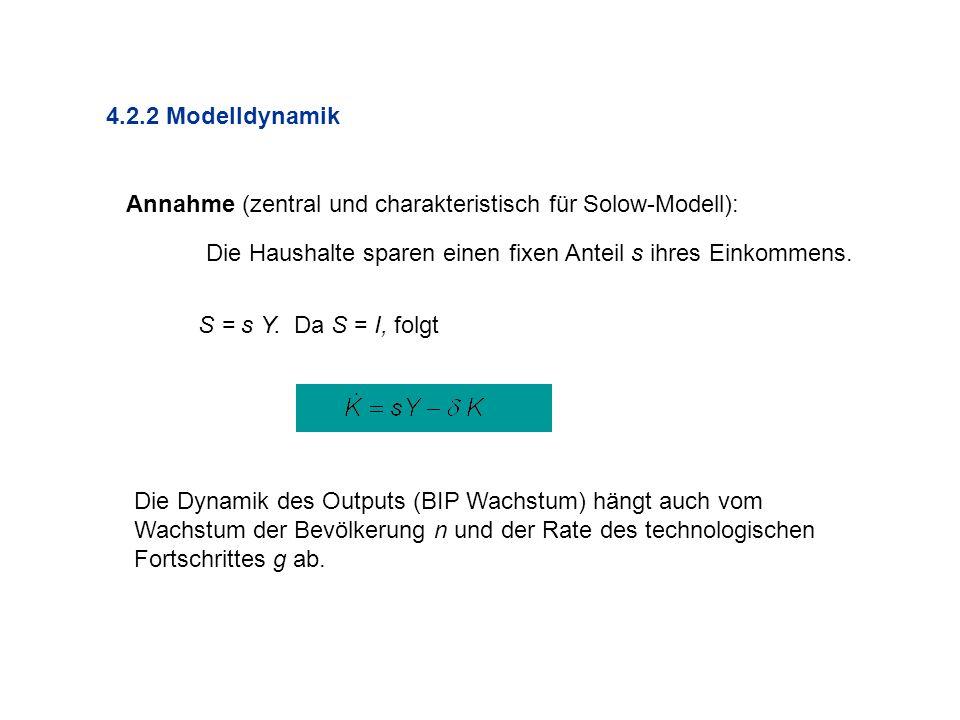 4.2.2 Modelldynamik Annahme (zentral und charakteristisch für Solow-Modell): Die Haushalte sparen einen fixen Anteil s ihres Einkommens.