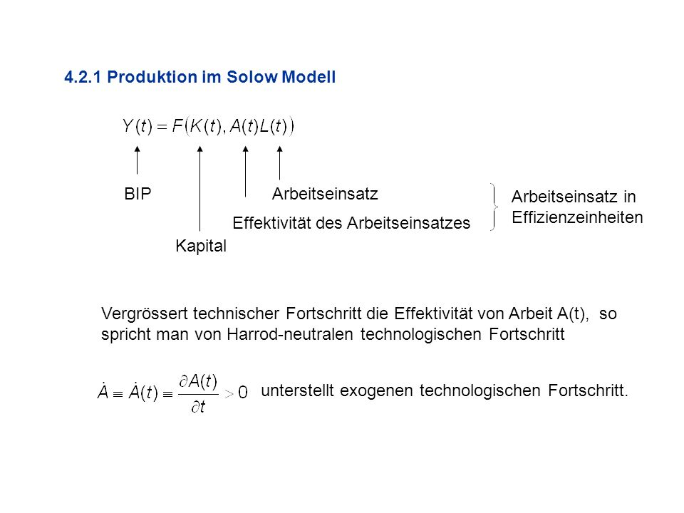 4.2.1 Produktion im Solow Modell