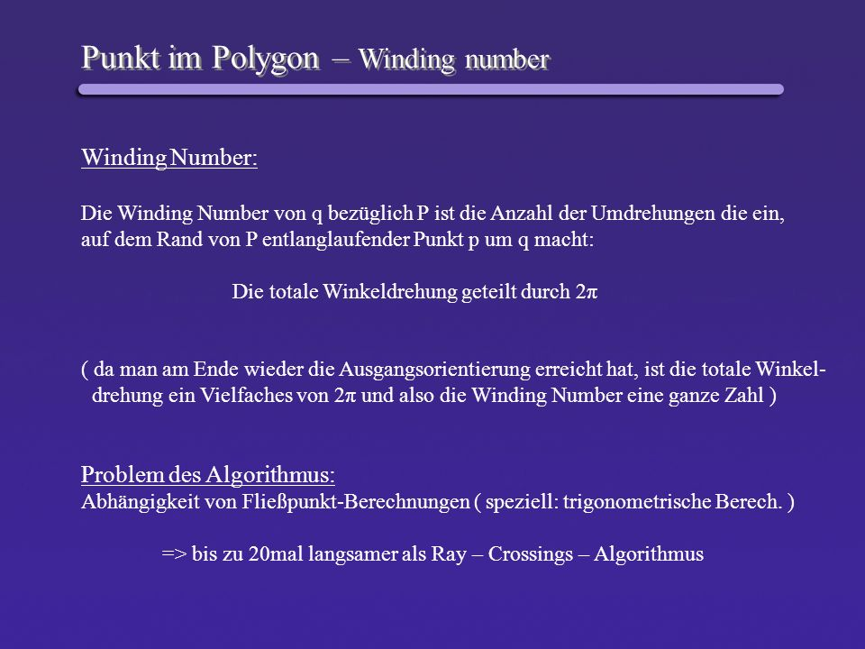 Punkt im Polygon – Winding number