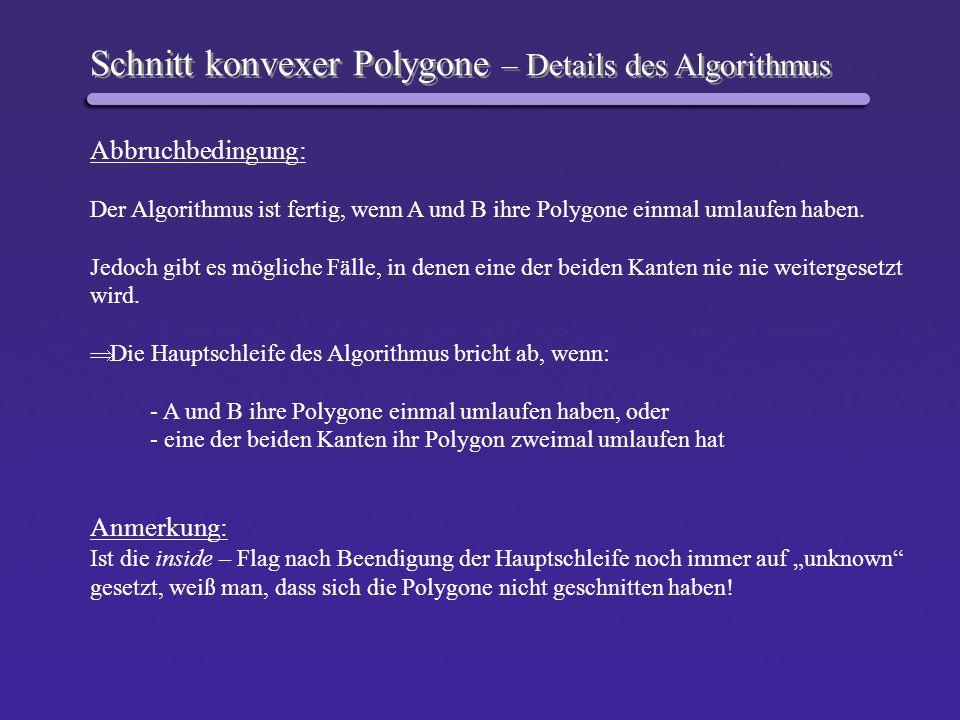 Schnitt konvexer Polygone – Details des Algorithmus