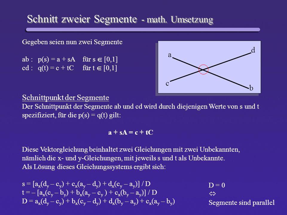 Schnitt zweier Segmente - math. Umsetzung