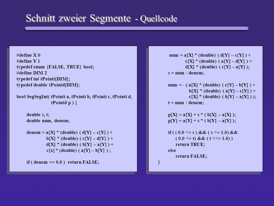 Schnitt zweier Segmente - Quellcode