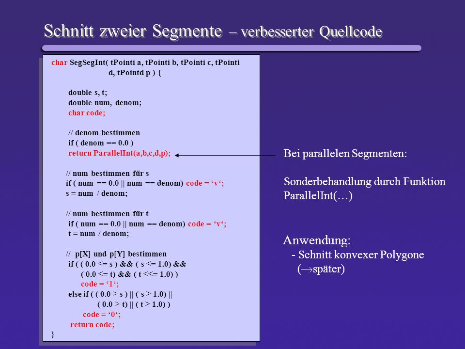 Schnitt zweier Segmente – verbesserter Quellcode
