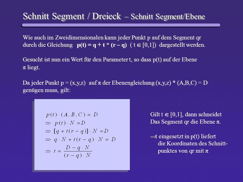 Schnitt Segment / Dreieck – Schnitt Segment/Ebene
