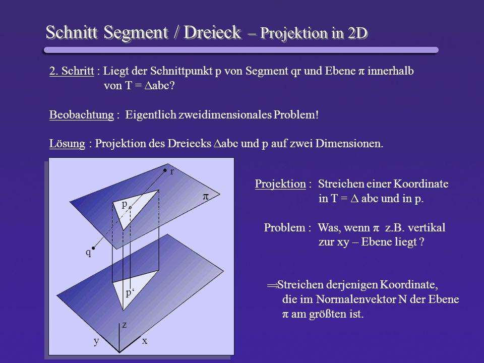 Schnitt Segment / Dreieck – Projektion in 2D
