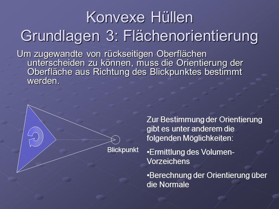 Konvexe Hüllen Grundlagen 3: Flächenorientierung