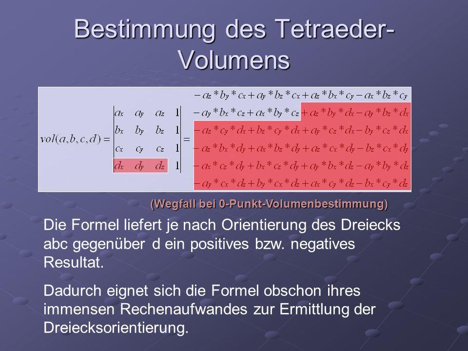 Bestimmung des Tetraeder-Volumens