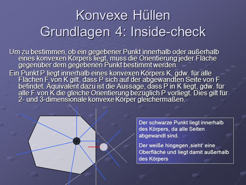 Konvexe Hüllen Grundlagen 4: Inside-check