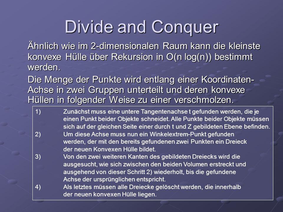Divide and Conquer Ähnlich wie im 2-dimensionalen Raum kann die kleinste konvexe Hülle über Rekursion in O(n log(n)) bestimmt werden.