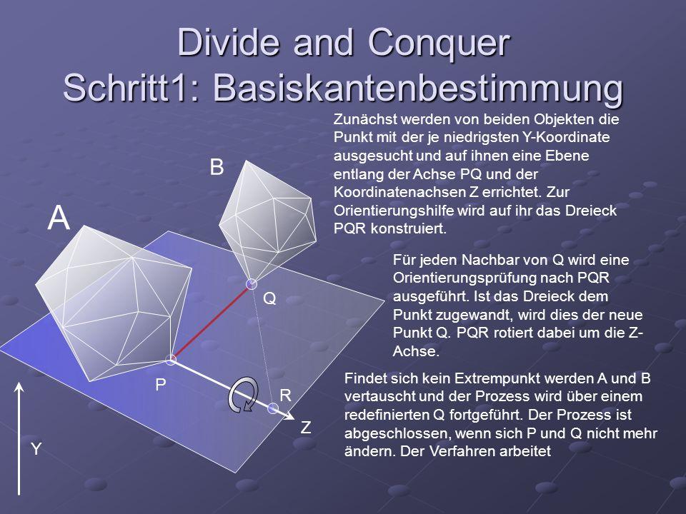Divide and Conquer Schritt1: Basiskantenbestimmung