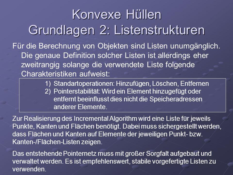 Konvexe Hüllen Grundlagen 2: Listenstrukturen