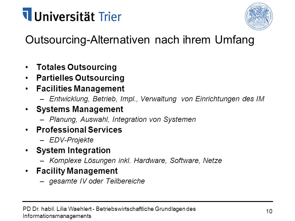 Outsourcing-Alternativen nach ihrem Umfang