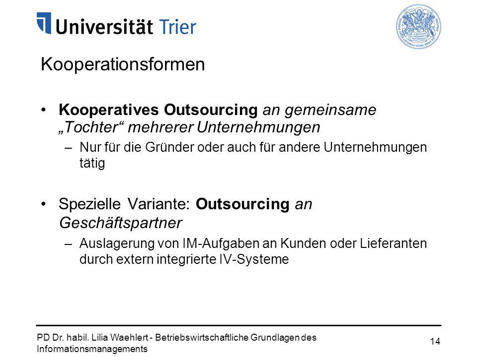"Kooperationsformen Kooperatives Outsourcing an gemeinsame ""Tochter mehrerer Unternehmungen."