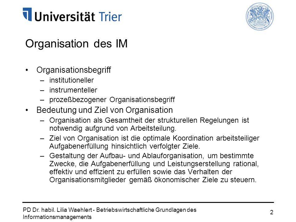 Organisation des IM Organisationsbegriff