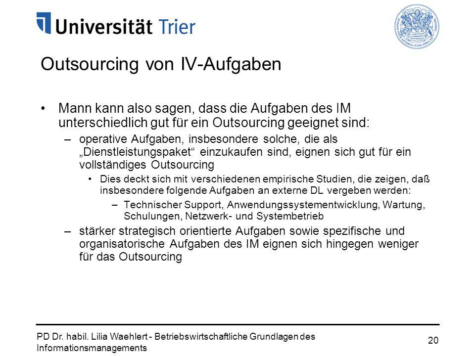 Outsourcing von IV-Aufgaben