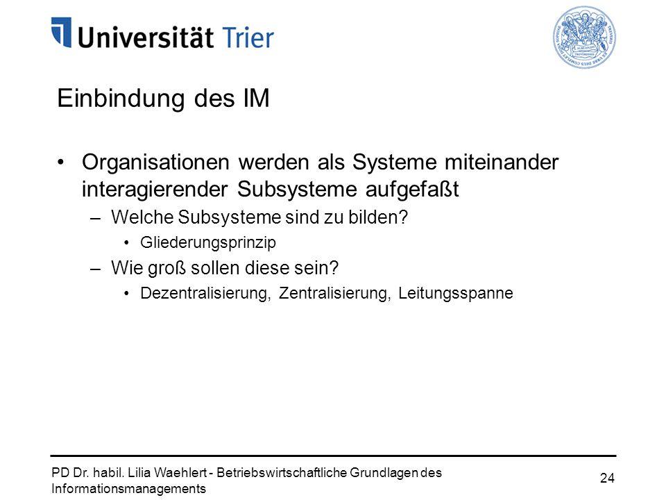 Einbindung des IM Organisationen werden als Systeme miteinander interagierender Subsysteme aufgefaßt.